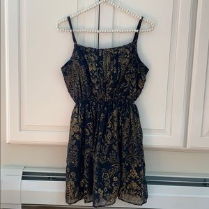 Abercrombie & Fitch Navy and gold floral dress M